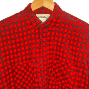 Vintage Trails End Flannel Plaid Shirt Red Black